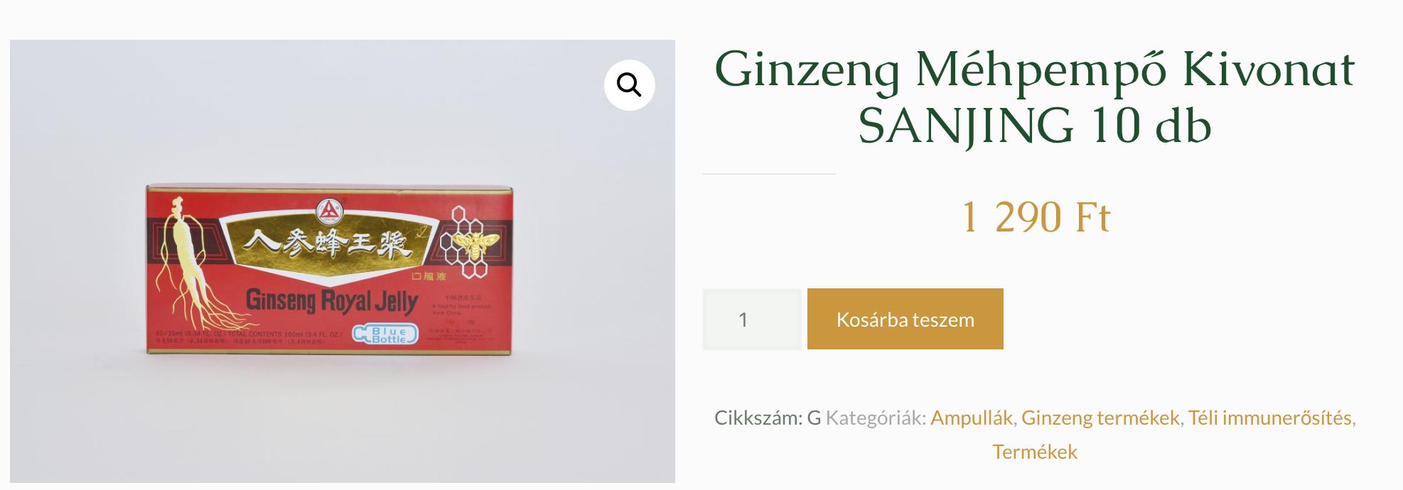 ginseng méhpempő ampulla